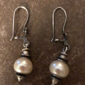 Silpada Pearl and silver earrings